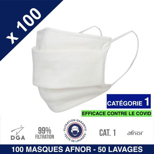 Herolab-100 Masques En Tissu -afnor Dga Uns1-50 Lavages-catégorie 1-blanc herolab