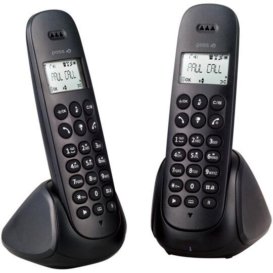 Téléphone fixe Duo avec répondeur - PSDP230D - Noir