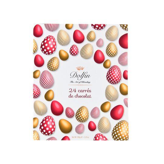 """Assortiment de 24 carrés de chocolat - """"Pâques"""" - Oeufs CHOCOLAT DOLFIN"""