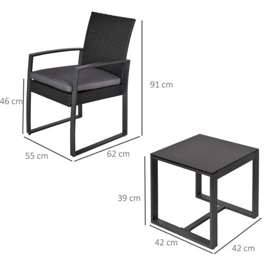 Salon De Jardin 2 Places Avec Table Basse + Coussins Gris Noir OUTSUNNY