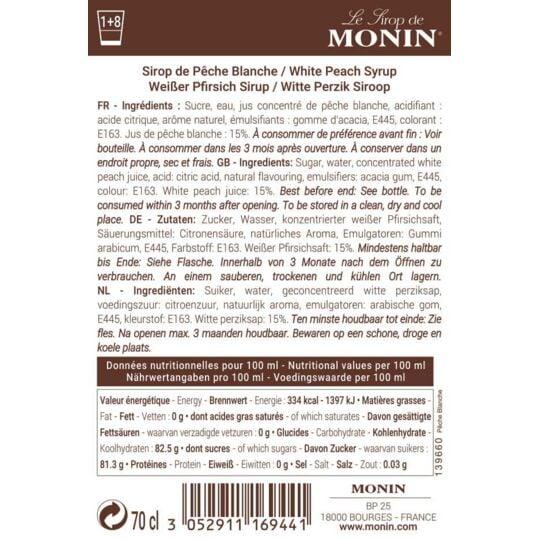 Sirop De Pêche Blanche - Arôme Naturel - 70cl MONIN