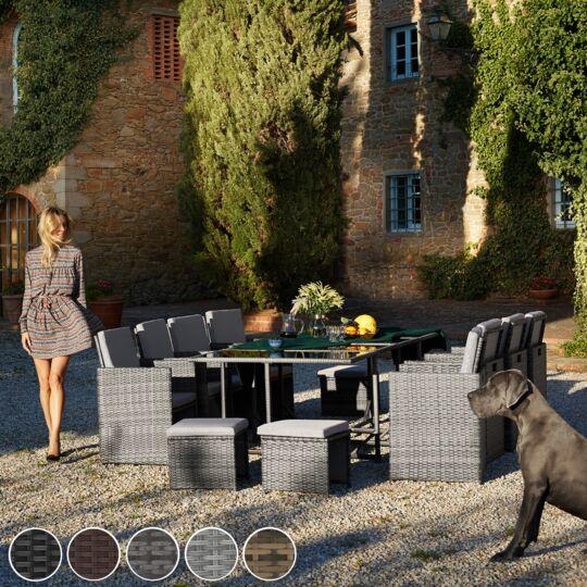 Salon De Jardin Palma 12 Places Avec Housse De Protection, Variante 2 Noir TECTAKE