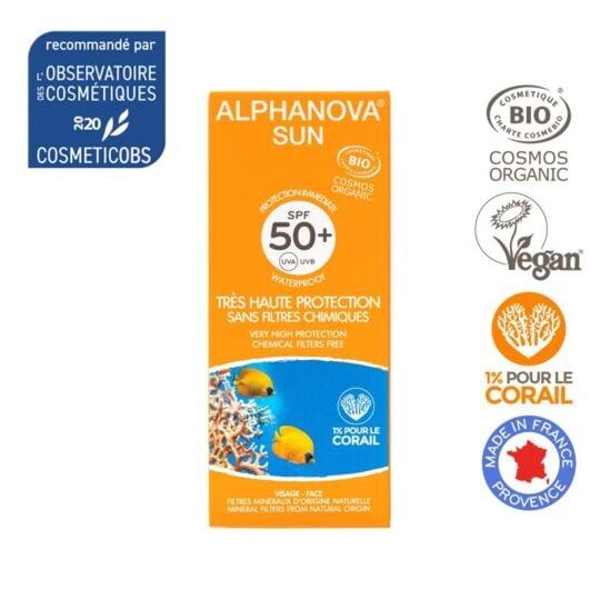 Crème Solaire Bio Très Haute Protection Spf50+ Alphanova ALPHANOVA
