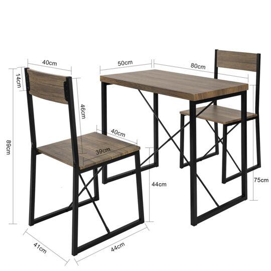 Sobuy® Ogt19-n Ensemble Table De Balcon + 2 Tabourets Avec Dossier Mobilier De Jardin SOBUY