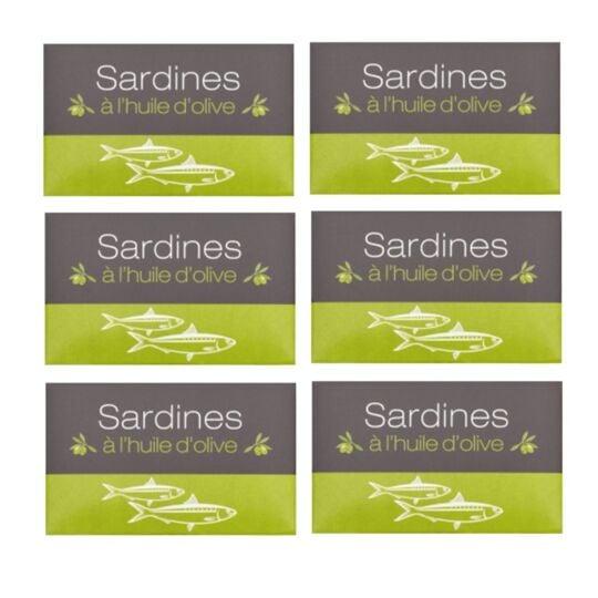 Lot 6x Sardines À L'huile Olive - Maroc - Conserve 125g AGIDRA