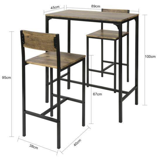 Sobuy Ogt03-xl Lot Table Et 2 Chaises De Bar De Style Industriel SOBUY