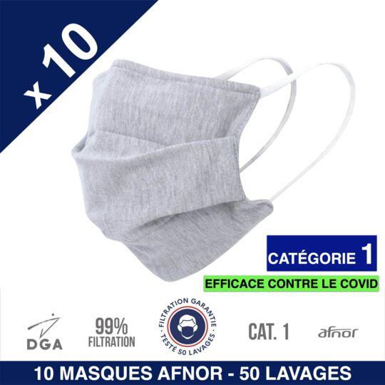 Herolab-10 Masques En Tissu -afnor Dga Uns1-50 Lavages-catégorie 1-gris herolab