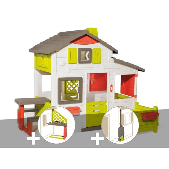 Cabane Enfant Smoby Neo Friends House + Cuisine D'été + Récupérateur D'eau SMOBY