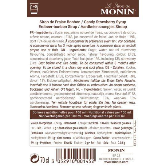 Sirop De Fraise Bonbon - Arôme Naturel - 70cl MONIN