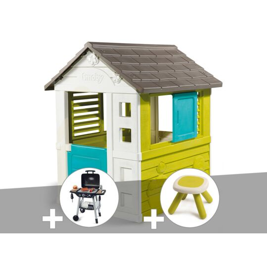 Cabane Enfant Pretty - Smoby + Barbecue / Plancha + Tabouret SMOBY