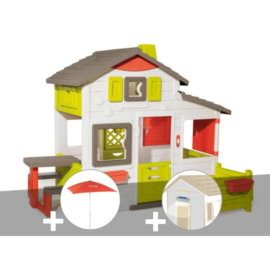 Cabane Enfant Smoby Neo Friends House + Parasol + Lampe Solaire SMOBY