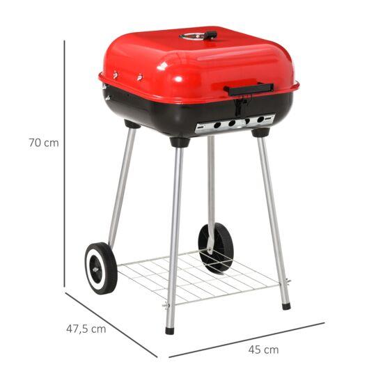 Barbecue À Charbon Avec Couvercle Et Roulettes Acier Émaillé Rouge HOMCOM