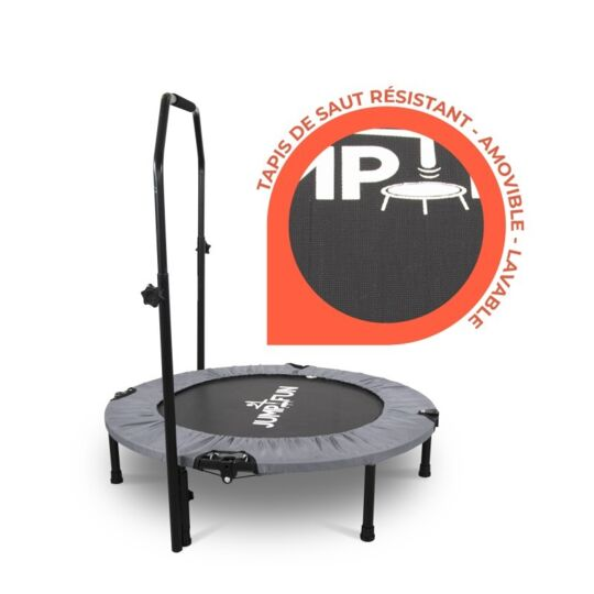 Mini Trampoline Fitness Double Barre Gris Ø122 Cm JUMP4FUN