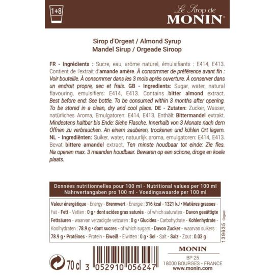 Sirop D'orgeat - Arôme Naturel - 70cl MONIN