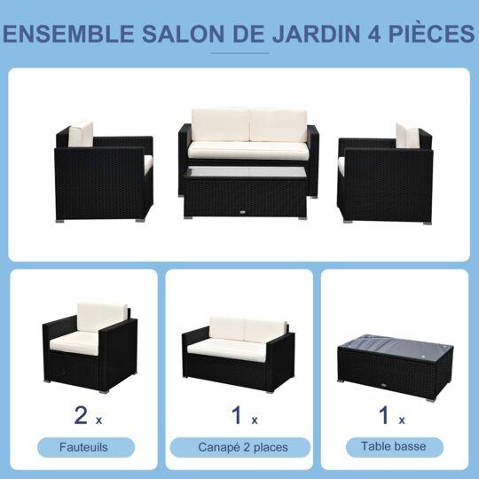 Ensemble Salon De Jardin 4 Places Noir Et Crème OUTSUNNY