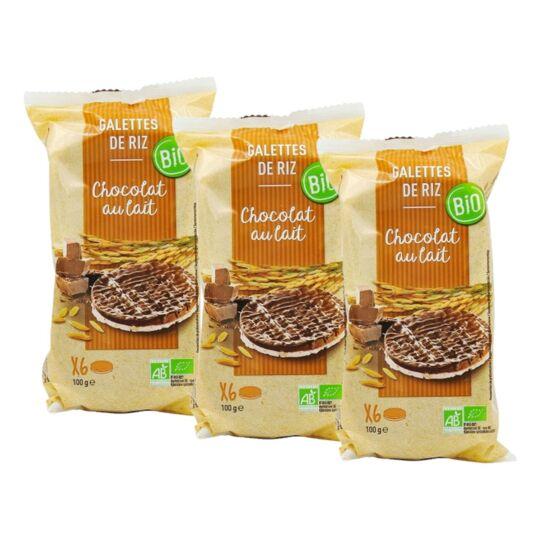 Lot 3x Galettes De Riz Chocolat Au Lait Bio - Paquet 100g AGIDRA