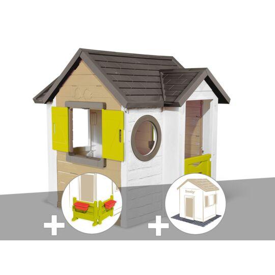Cabane Enfant Smoby My New House + Espace Jardin + 2 Sets De 6 Dalles SMOBY