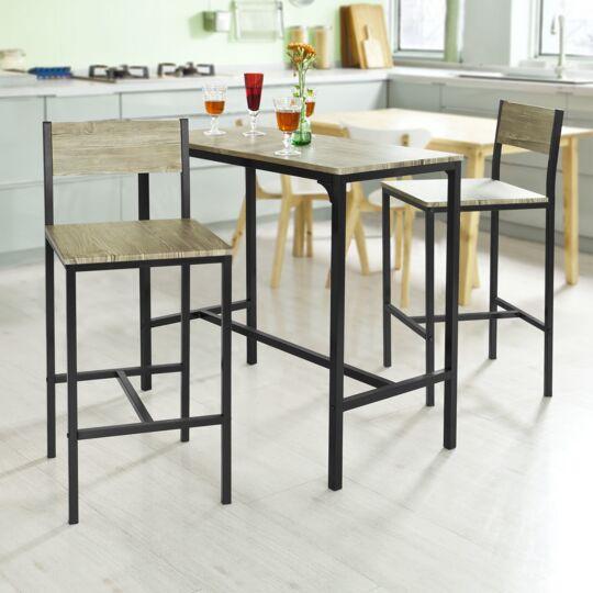 Sobuy® Ogt03-n Ensemble Table De Bar + 2 Chaises SOBUY