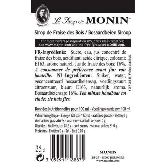 Sirop De Fraise Des Bois - Arômes Naturels - 25cl MONIN