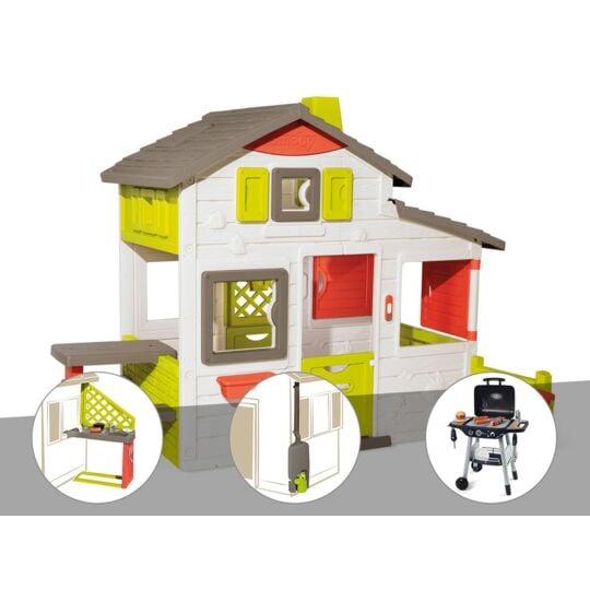Cabane Enfant Smoby Neo Friends House + Cuisine D'été + Récupérateur D'eau + SMOBY