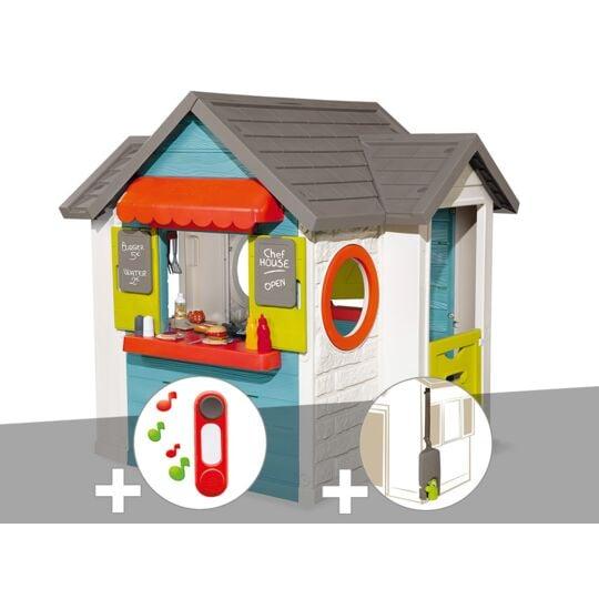 Cabane Enfant Smoby Chef House + Sonnette + Récupérateur D'eau SMOBY