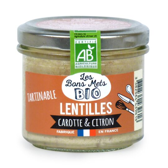 Tartinable de lentilles, carotte & citron LES BONS METS BIO