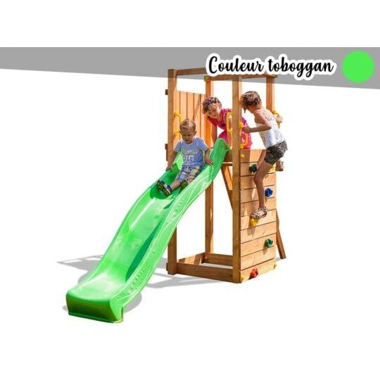 Aire De Jeux Tip Top + Mur D'escalade + Toboggan Vert FUNGOO