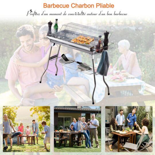 Barbecue À Charbon Pliable Portable Étagère + 2 Grilles Cuisson Acier Inox. OUTSUNNY