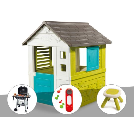 Cabane Enfant Pretty - Smoby + Barbecue / Plancha + Sonnette + Tabouret SMOBY