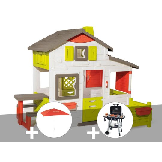 Cabane Enfant Smoby Neo Friends House + Parasol + Barbecue / Plancha SMOBY