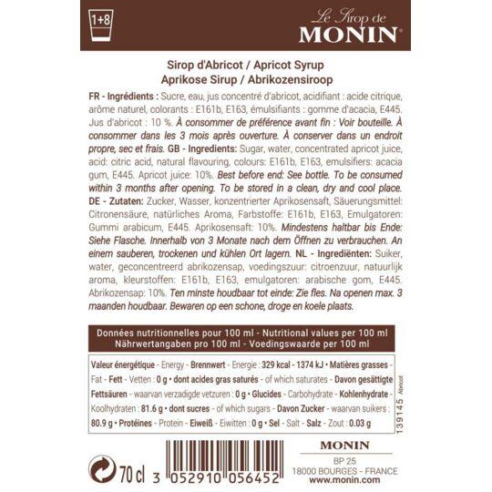 Sirop D'abricot - Arôme Naturel - 70cl MONIN