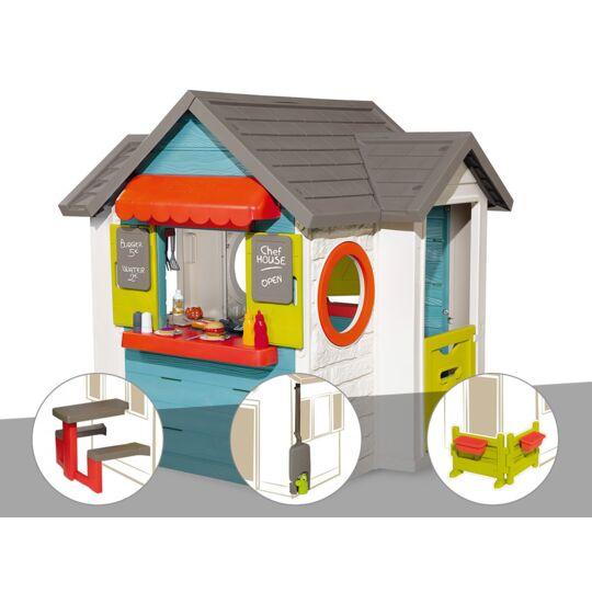 Cabane Enfant Smoby Chef House + Table Pique Nique + Récupérateur D'eau + Espace SMOBY