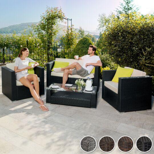 Salon Bas De Jardin Munich 4 Places Avec 2 Sets De Housses, Version 1 Gris TECTAKE