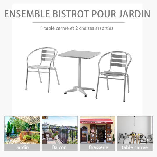 Ensemble Bistro De Jardin 3 Pièces Style Néo-rétro Aluminium OUTSUNNY