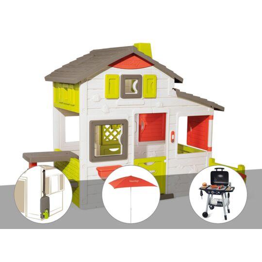 Cabane Enfant Smoby Neo Friends House + Récupérateur D'eau + Parasol + Barbecue / SMOBY