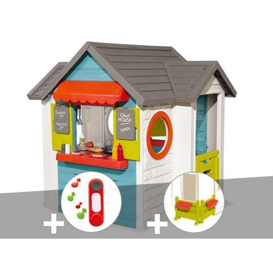 Cabane Enfant Smoby Chef House + Sonnette + Espace Jardin SMOBY