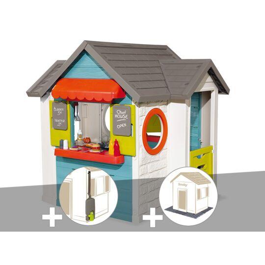 Cabane Enfant Smoby Chef House + Récupérateur D'eau + 2 Sets De 6 Dalles SMOBY