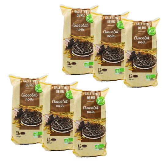 Lot 6x Galettes De Riz Chocolat Noir Bio - Paquet 100g AGIDRA
