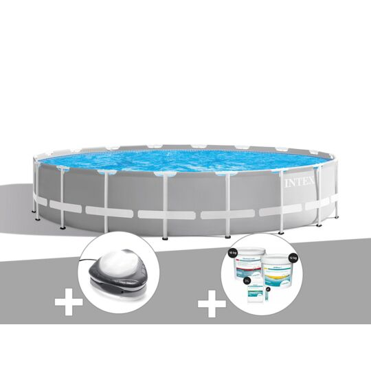Kit Piscine Tubulaire Intex Prism Frame Ronde 6,10 X 1,32 M + Spot + Kit De INTEX