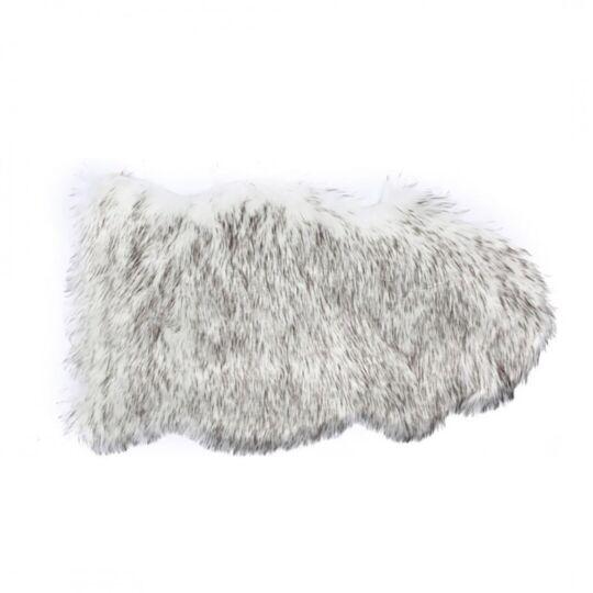 Tapis Fausse Fourrure Shaggy 50x90 Cm Gris Blanc ZONS