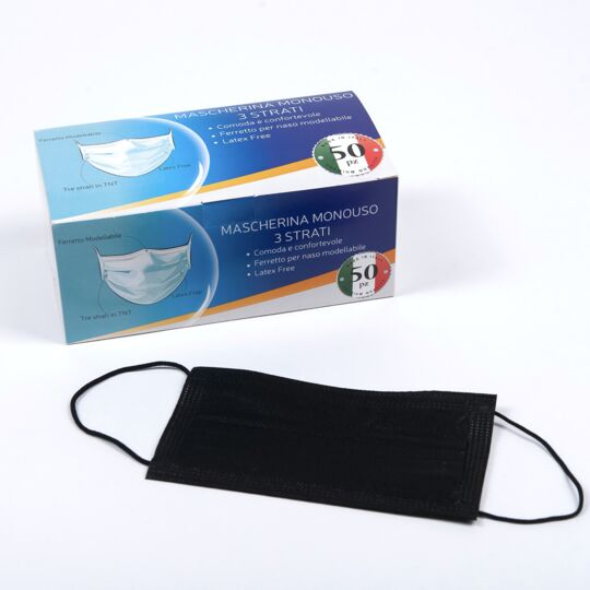 100 Masques Chirurgicaux noir Type 2 Et 95% Filtration - Made in Italy