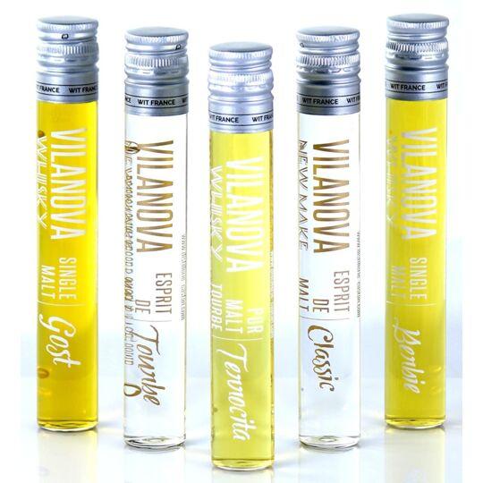 Assortiment de 5 Whiskys et Eaux de Vie - Origine France JEMANGEFRANÇAIS.COM