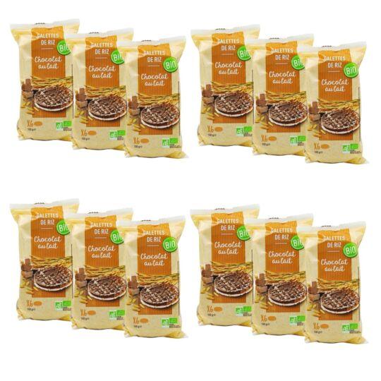 Lot 12x Galettes De Riz Chocolat Au Lait Bio - Paquet 100g AGIDRA