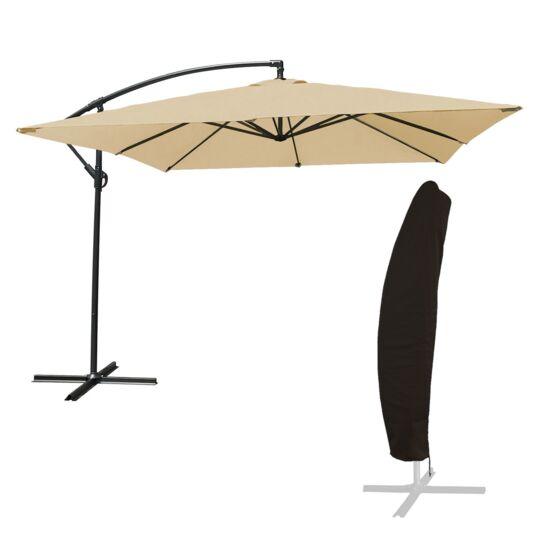 Parasol Déporté Molokai Carré 2,7x2,7m Beige + Housse HAPPY GARDEN