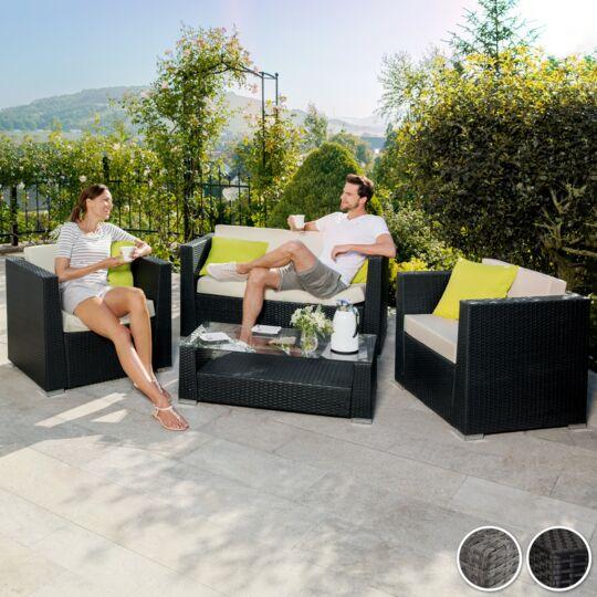 Salon Bas De Jardin Munich 4 Places Avec 2 Sets De Housses, Version 2 Gris TECTAKE