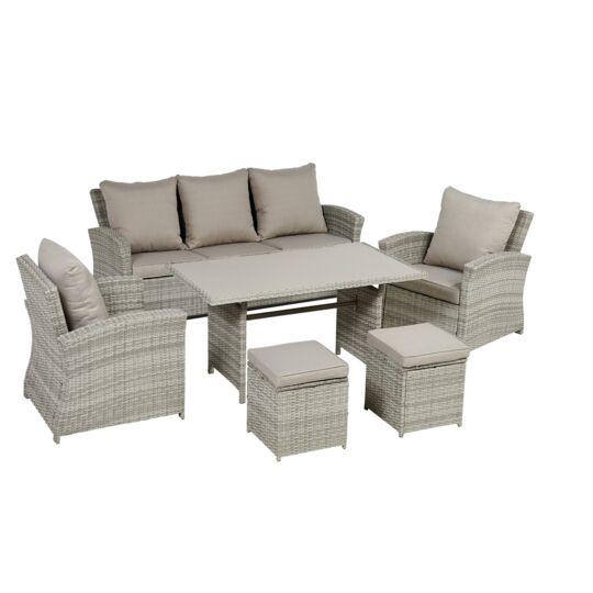 Table basse et fauteuils / canapé / poufs de jardin Ouvéa