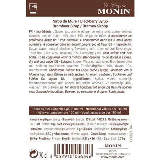 Sirop De Mûre - Arôme Naturel - 70cl MONIN