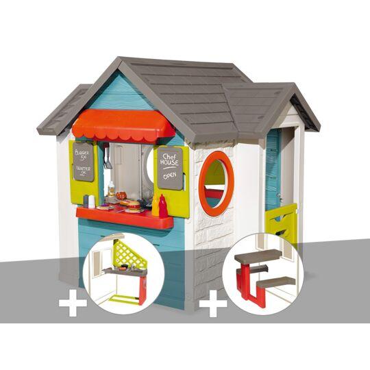 Cabane Enfant Smoby Chef House + Cuisine D'été + Table Pique Nique SMOBY