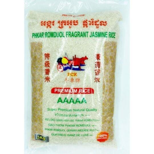 "Riz Long Du Cambodge Extra Parfumé Au Jasmin 5kg ""gao Thom"" - Qualité  25kg (5x5kg) AAAAA"