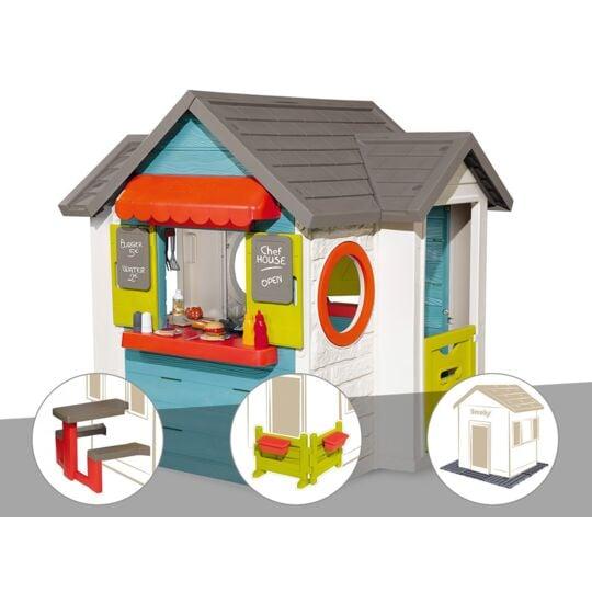 Cabane Enfant Smoby Chef House + Récupérateur D'eau + Espace Jardin + 2 Sets De 6 SMOBY